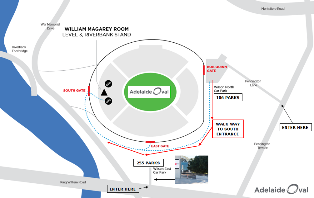 Adelaide Oval Car Park Entrance Map