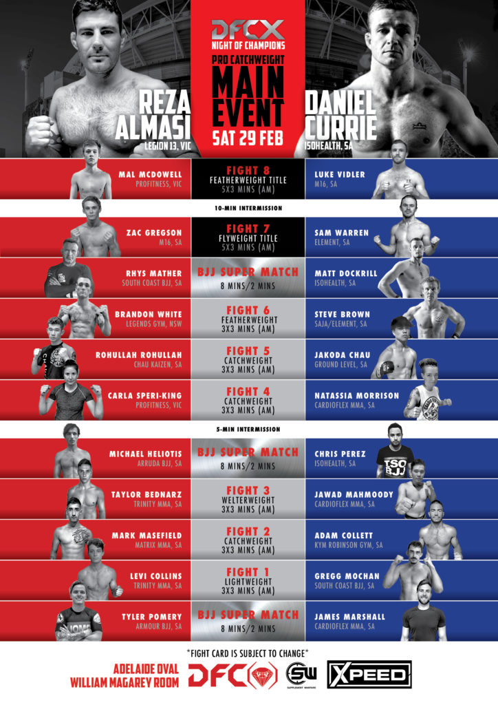 DFCX Fight Card